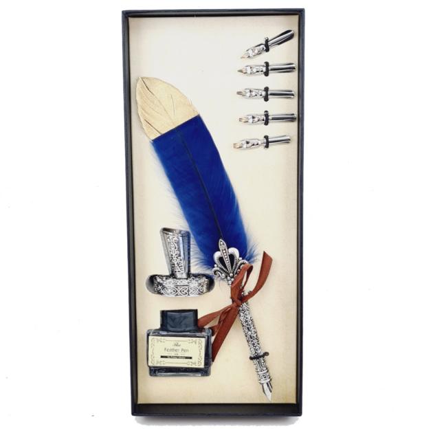 kit-pena-caligrafica-vintage-completo-azul-escuro