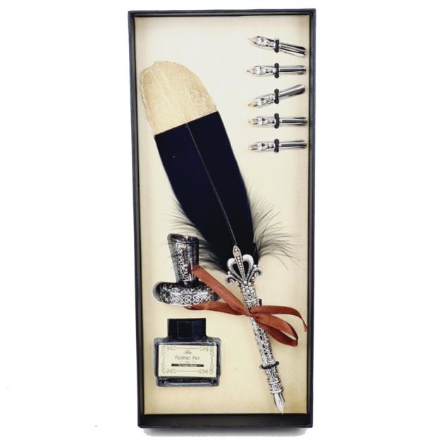 kit-pena-caligrafica-vintage-completo-preto